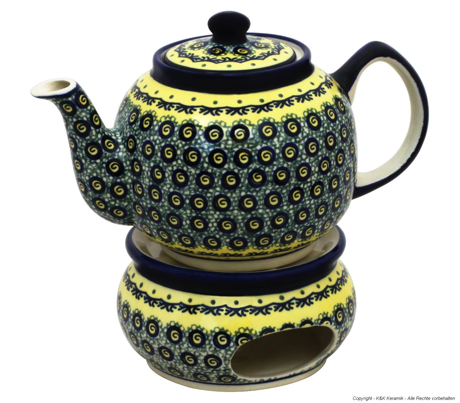 Boleslawiec Pottery Teapot 1.0 L with Warmer, Original Bunzlauer Keramik, Decor DU1