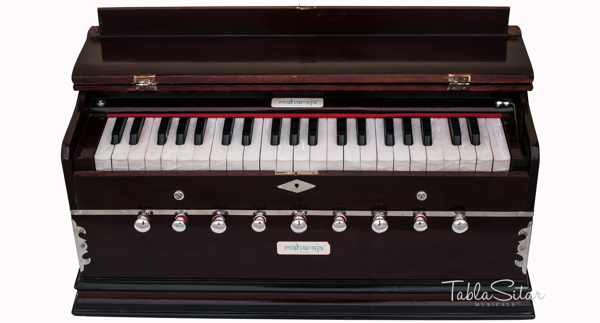Maharaja Musicals Harmonium - 9 Stop - Sangeeta - 3½ Octave - With Coupler, Come with Book & Bag - T