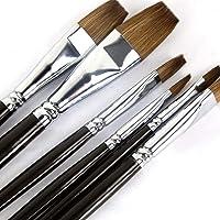 Lot de 6 pinceaux d'artiste Pour peinture acrylique à l'huile gouache et aquarelle Long manche en bois, flat brushes(red…