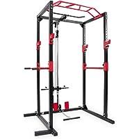 Ultrasport Power Rack Banc de Musculation/Cage à Squats avec 2 Barres de Sécurité, Barre de Traction et Dips, Rameur…