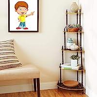 FLIPZON 5 Shelve/Tier MDF Wall Corner Stand, Floor Standing, Brown Finish (Need to Be Assemble - DIY)