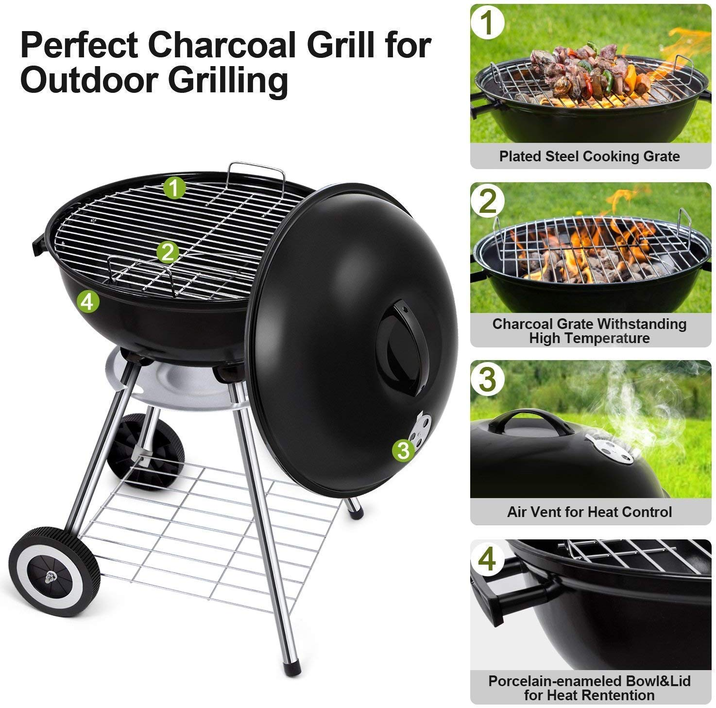71OPllMUYzL - BEAU JARDIN Portable Charcoal Grill for Outdoor Grilling with Lid 4 Legs Rolls 18in Grill BBQ Kettle Outdoor Picnic Patio Backyard Camping Tailgating Steel Cooking Grate for Steak Chicken