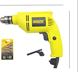 Cheston 10mm Powerful Drill Machine Reversible Variable Speed for Wall (13PCS HSS BITS Included)