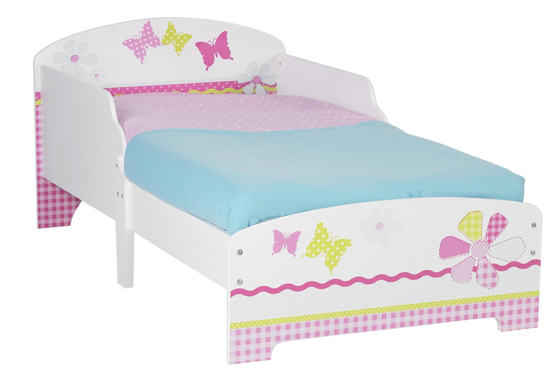 Butterflies and Flowers Patchwork Kids Toddler Bed by HelloHome  Ideal transition from cot to bed - make the move to her first big kids' bed magical with this fun butterflies and flowers design toddler bed from HelloHome Takes cot bed size mattress - 140cm (l) x 70cm (w). Mattress not included. Assembled size (h)59, (w)77, (l)145cm Suitable for 18 months to 5 years this pink toddler bed is perfect for your little toddler 1