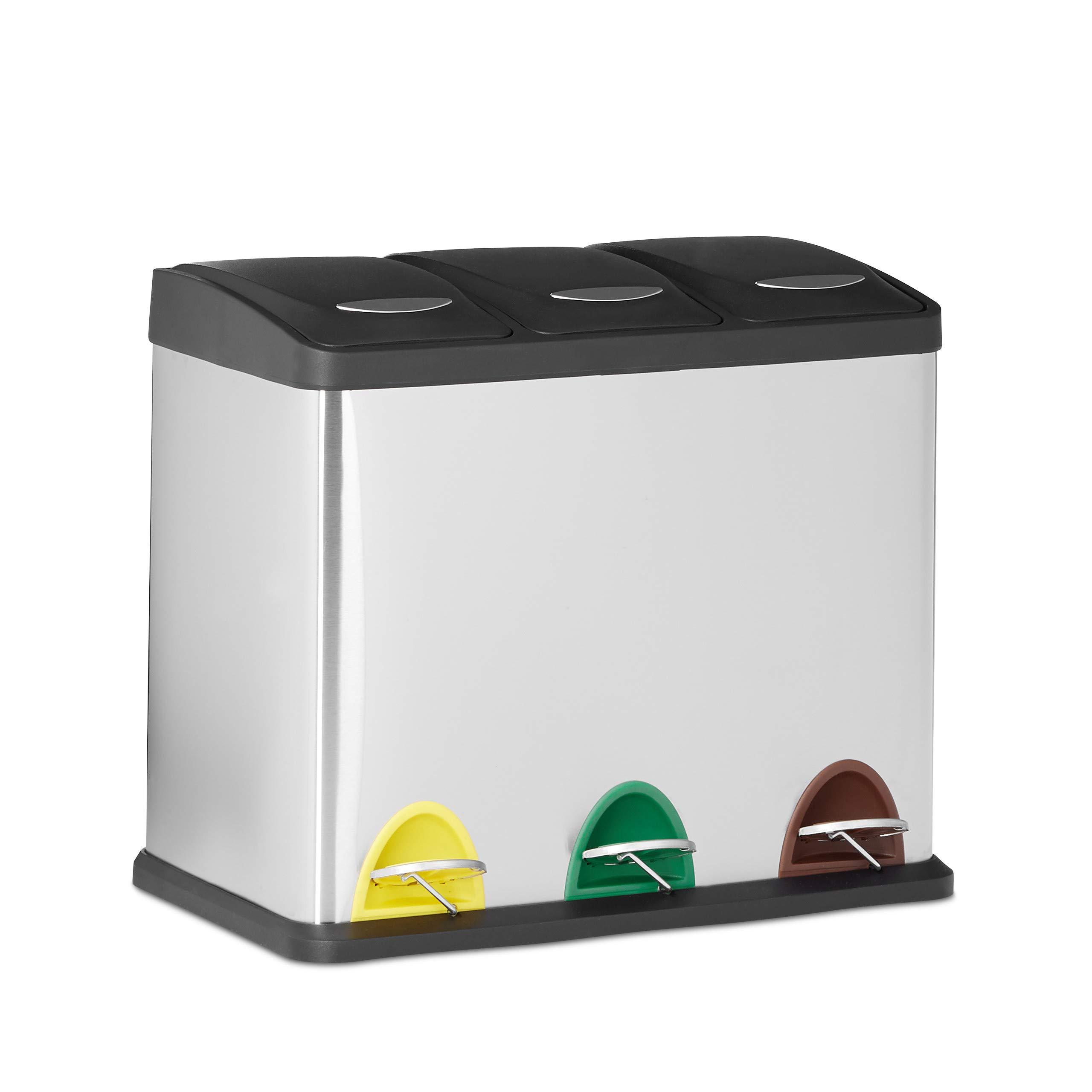 Relaxdays Cubo de Basura Reciclaje con 3 Compartimentos, Acero Inoxidable, Plateado, 40 x 48 x 28 cm
