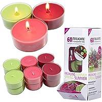 Candelo Ambiente Lot de 60 bougies chauffe-plat parfumées à la fraise des bois dans un étui en plastique Durée de…