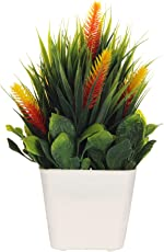 CAAJIB Lucky Charm Artificial Plant with Vase Pot for Home Decor Decorative Plants, Height 21 cm, Green & Orange