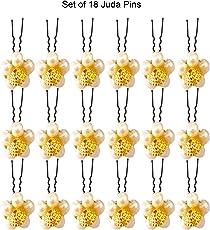 Juda Flower Hair Pins/Hair Juda Pins Bridal (White Pearls Set Of 18 Pins)