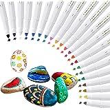 Hocerlu Feutre Acrylique 21 Couleurs, Stylos Acryliques à Base D'eau à Séchage Rapide et Inodore, Marqueur de Feutre Peinture