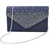 Tingtin Handtasche Abendtasche Damen Clutch Handtasche Bag Umhängetasche Kleine Schultertasche Damentaschen mit Satin Strass-