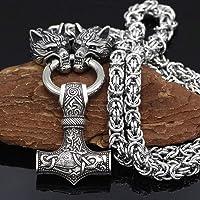 NICEWL Raben Von Odin Mit Thors Hammer Mjölnir Anhänger Halskette-Wikinger Metall Wolfskopf Kettenschnur, Nordische…