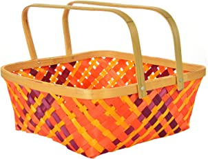 Assam Cane Handicraft Handle Basket -(10x10 Inches,Multi-Colored)