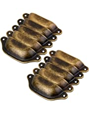 Imported 10Pcs Antique Brass Door Cabinet Knob Wardrobe Drawer Shell Pull Handle