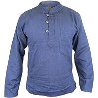 Gheri Men's Plain Grandad Collarless Cotton Light Festival Summer Shirts Tops Kurtas