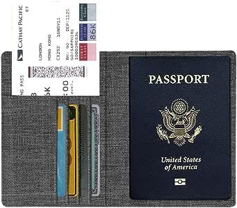 Fintie Reisepass Schutzhülle - Premium Stoff Passhülle Halter Brieftasche mit RFID Blockier für Reisepass, Visitenkarten, Kreditkarten, dunkelgrau