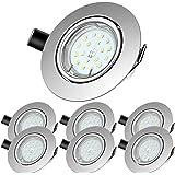 LED Spots Encastrables,Blanc Froid 6000K,600lm Plafonnier Encastré,5W Equivalente de 60W Ampoule halogène,30°orientable,120°d