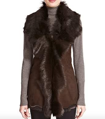 A to Z Leather Donna camoscio Marrone con Marrone Shearling Pelliccia Cascata Gilet/Gilet (Maniche Body Warmer)