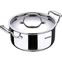 Bergner Argent Triply Stainless Steel Casserole with Stainless Steel Lid, 28 cm, 8.3 Litres, Induction Base, Silver