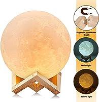 3D Luna Lampada LED, Uten Luce Lunare Notturna, 2 Colori e Toccare il Controllo, Dimmerabile con, 5.91 inch Stampata...