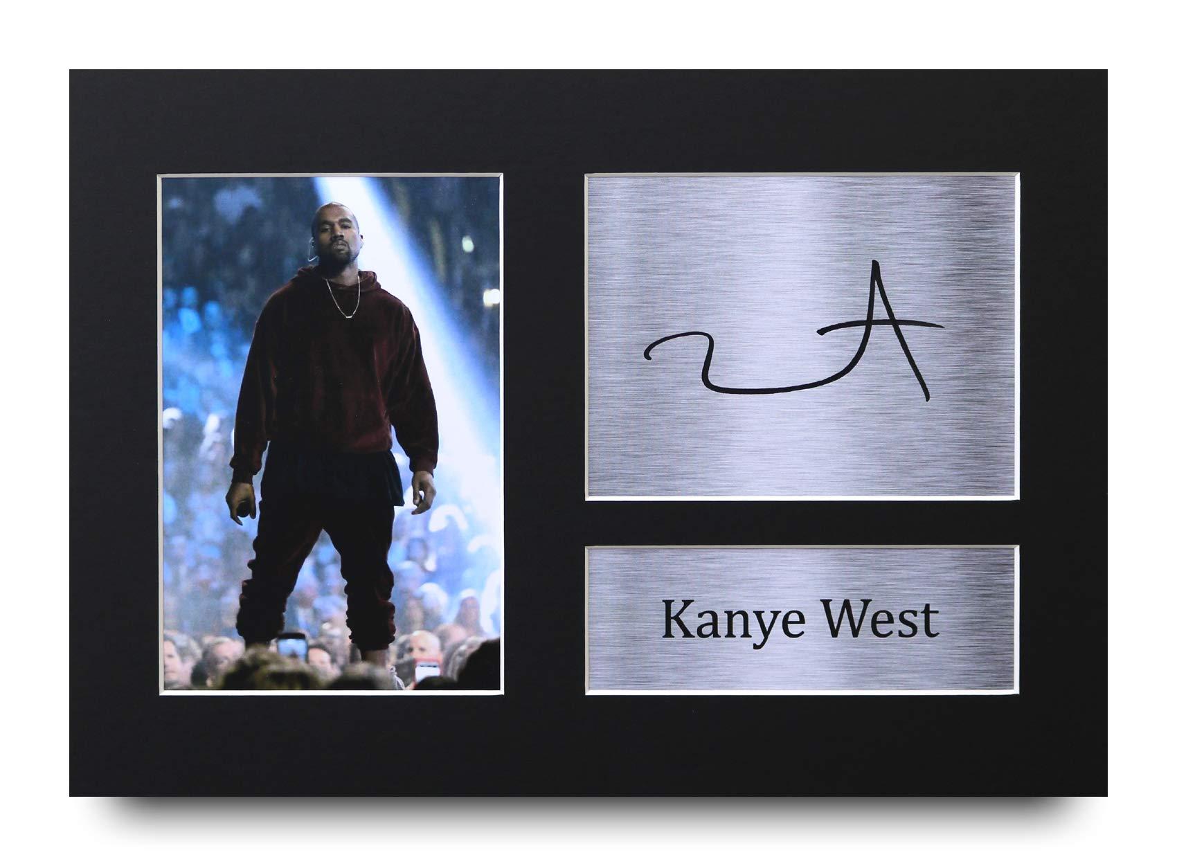 HWC Trading Kanye West Regalos Firmados A4 Impreso autógrafo música Regalo impresión Foto Pantalla