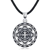 """Compass Necklace for Men, S925 Sterling Silver Pendant""""Compass of Life"""" Fine Jewellery Gifts with Leather Rope length…"""