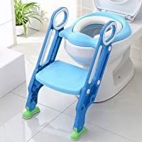 KEPLIN Potty Toilet Seat Adjustable Baby Toddler Kid Toilet Trainer with Step Stool Ladder for Boy and Girl (Blue)