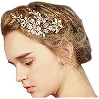 Fermaglio da sposa per capelli, dorato, fantasia floreale, con clip e strass