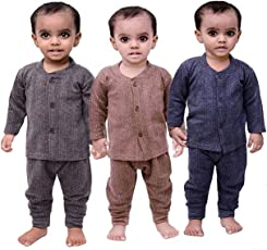 Mahi Fashion Front Open Baby Thermal Wear Suit Top & Pajama Set for Baby Boys & Baby Girls, Pack of 3 (Baby Thermal)
