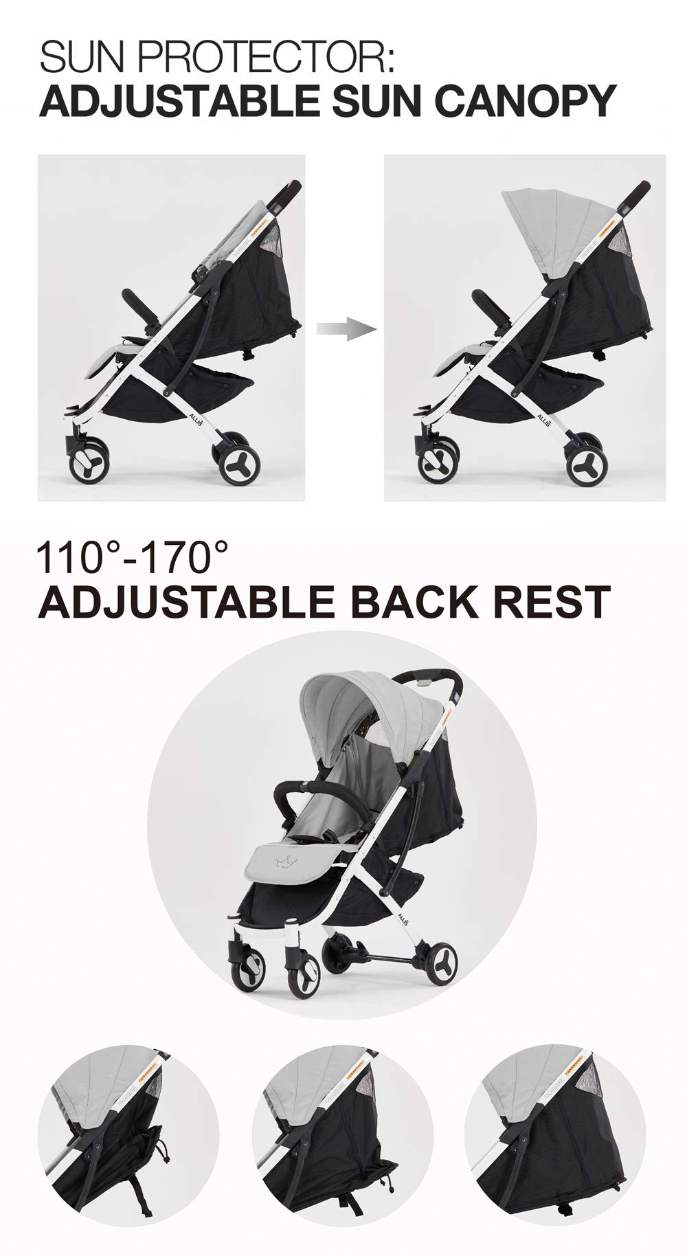 Allis Lightweight Stroller Baby Pushchair Buggy Travel Pram Plume - Grey Allis Baby Made according to British Standard EN1888 and Fire Safety Regulations 1988. Lockable 360 swivel wheels, removable and suspension, Peek A Boo window/ Recline Seat/ Lie-flat position From 6M (Upto 15Kg Approx). Lightweight 6.7Kg only, Easy to fold with one hand only 8