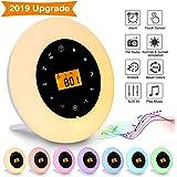 Elfeland Réveil Lumière 7 Couleurs Réveil Lumière 6 Luminosité/8 Sons Naturels/Snooze/Sunrise/AUX IN/Radio FM USB Plug-and-Play Contrôle Tactile Multi-Mode Veilleuse LED RGB pour Enfant Cadeau