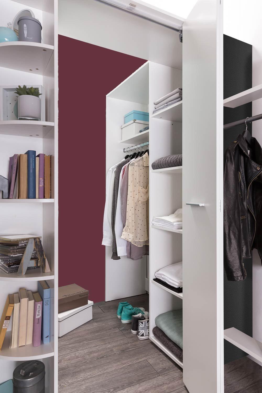 lifestyle4living Begehbarer Eckkleiderschrank in weiß, graue Falttür   Schlafzimmerschrank   Jugendzimmerschrank   Eckschrank