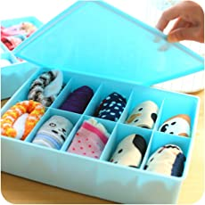 Krevia 10 Grid Design Plastic Clothes, Undergarment,Stationary, Drawer Storage Organizer Box with Lid - 1pc (Color May Very)