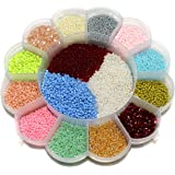 Beadsnfashion Glass Seed Multi Color Beads For Jewellery Making, Embroidery & Crafts Diy Kit, Size 11/0 (Pack Of 15…