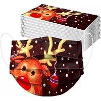 50 Stück Erwachsene Einweg Weihnachten Mundschutz: 3D Druck Weihnachtsmotiv Mund Nasenschutz Halstuch Maske Lustig Elch…