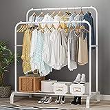 Lukzer Multipurpose Double Garment Rack Heavy Duty Cloth Rail with 2 Bottom Shelf Coat Jacket Hanging Hanger Shoe Stand for H