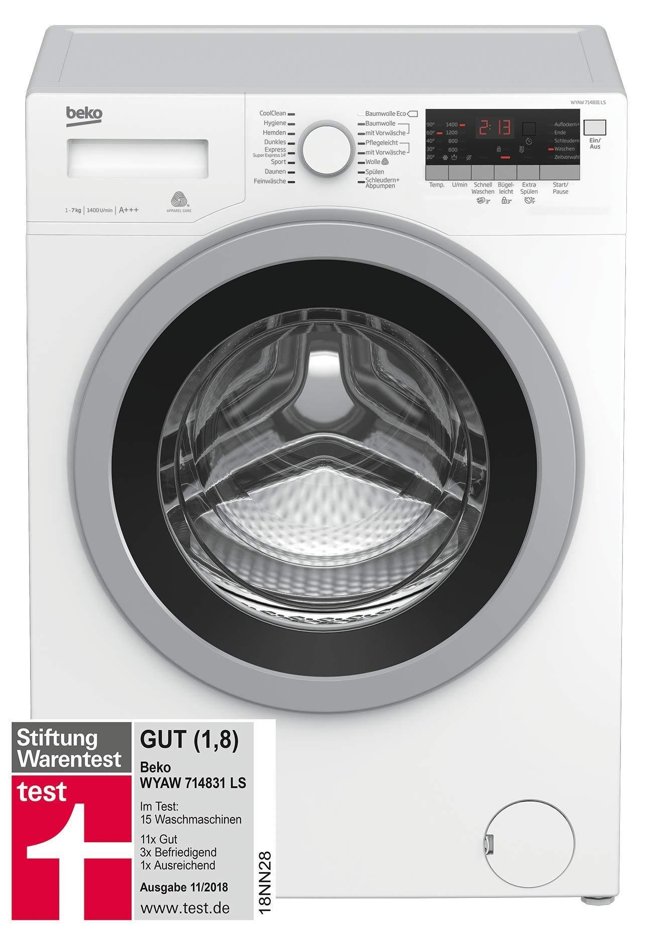 Beko WYAW 714831 LS Waschmaschine Frontlader, Selbstreinigung, Watersafe+, Mengenautomatik