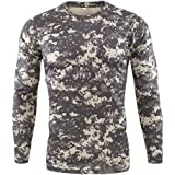 HARRYSTORE Men's Camo Tactical T-Shirts Long Sleeve Cool Dry Compression Baselayer T Shirts Outdoor Quick-Drying Camouflage P