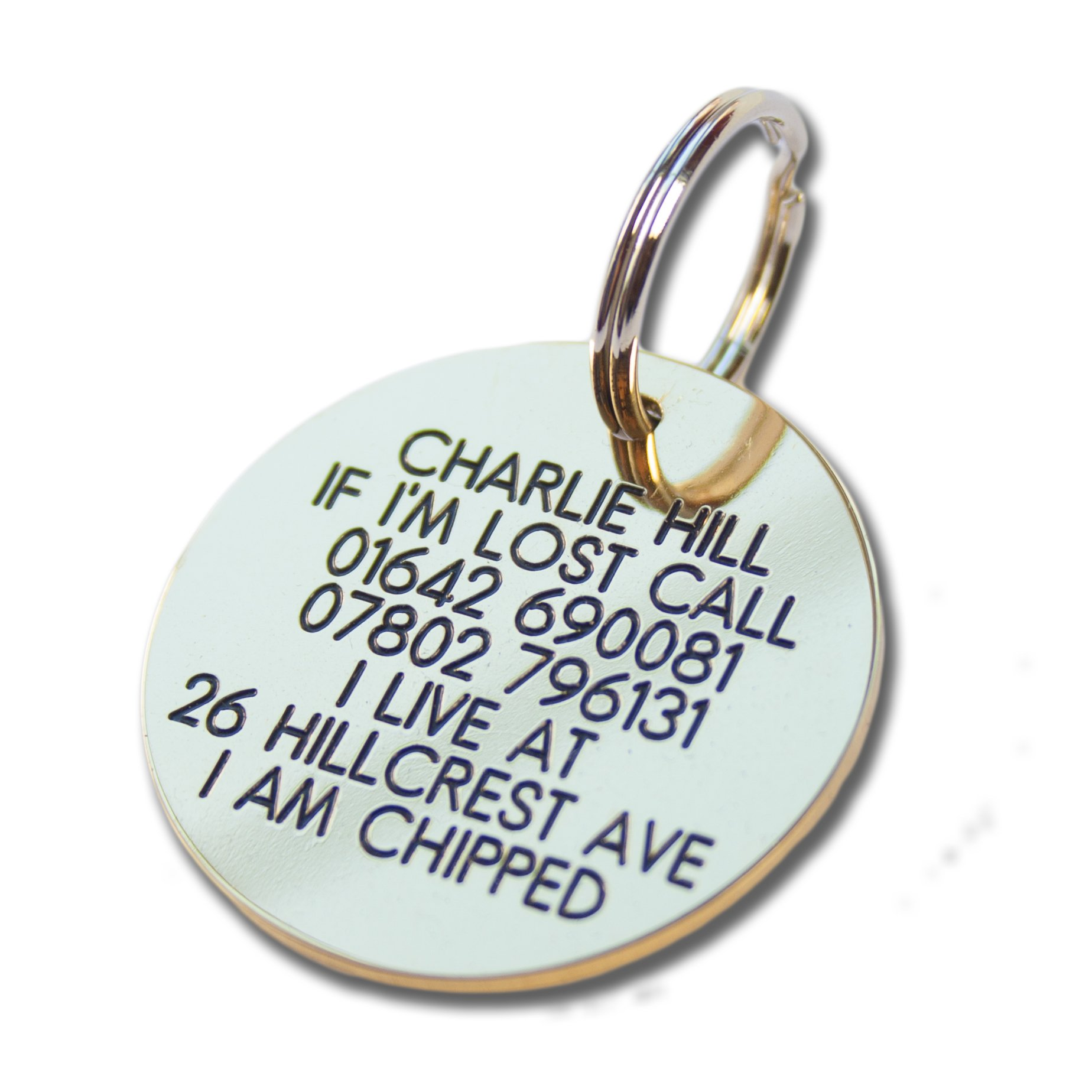 Deeply engraved solid brass 39mm circular dog tag