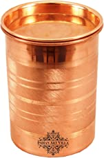 IndianArtVilla Copper Glass Tumbler Cup with Lid, Drinking Serving Water, Yoga Ayurveda