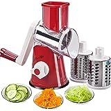 FAVIA Trancheuse à main rotative pour légumes, Râpe à Légumes Manuelle-Multifonctions Trancheur de Tambour,Avec 3 Lames en Ac