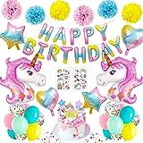 MMTX Decoracion Cumpleaños Niña Globos Unicornio Decoracion Fiesta Adornos Cumpleaños 1 Año 2 3 4 5 Años Feliz Cumpleaños Glo