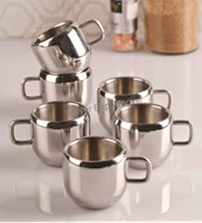 Mayur Exports Double Wall Stainless Steel Apple Tea   Coffee Cups,Set of 6, 100 Ml