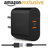 ShopsGeniune Dual Usb Port Charger for Lenovo Tab 7, Lenovo K8 Plus, Lenovo K8, Lenovo K8 Note, Lenovo Tab 4 10, Lenovo Tab 4 8, Lenovo Tab3 8 Plus Charger Original Like Adapter Wall Charger | Mobile Chargers | Fast Charger | USB Charger with 1 Meter Micro USB Charging Data Cable (2.4 Amp, Black)