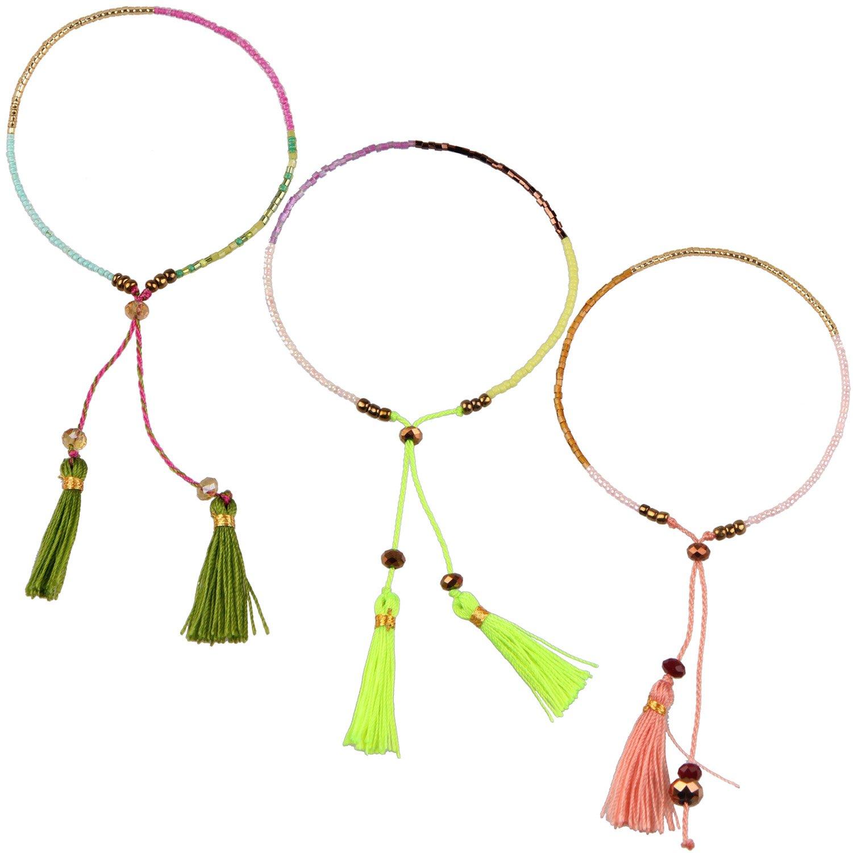 KELITCH Armband 3 Stück aus Rocailles Perlen Handmade Schnur Freundschaftsarmbänder mit farbig Quaste Anhänger - Grün/Hell - grün/Rosa