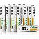 EBL 1.2V AAA Batterie Ricaricabili con 1200 cicli,Pile Ricaricabili da 1100mAh Ni-MH con Comodo Astuccio,Confezione da 8 pezz