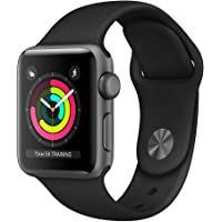 Apple Watch Series 3 (GPS, 38mm) Boîtier en Aluminium Gris Sidéral - Bracelet Sport Noir