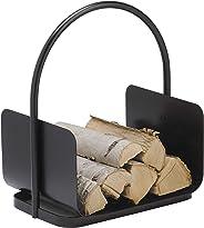 Kamin - Holzkorb schwarz lackiert ca. 44 x 40 x 30 cm (HxBxT) Holzkorb; Holzwiege; Brennholzkorb Metall