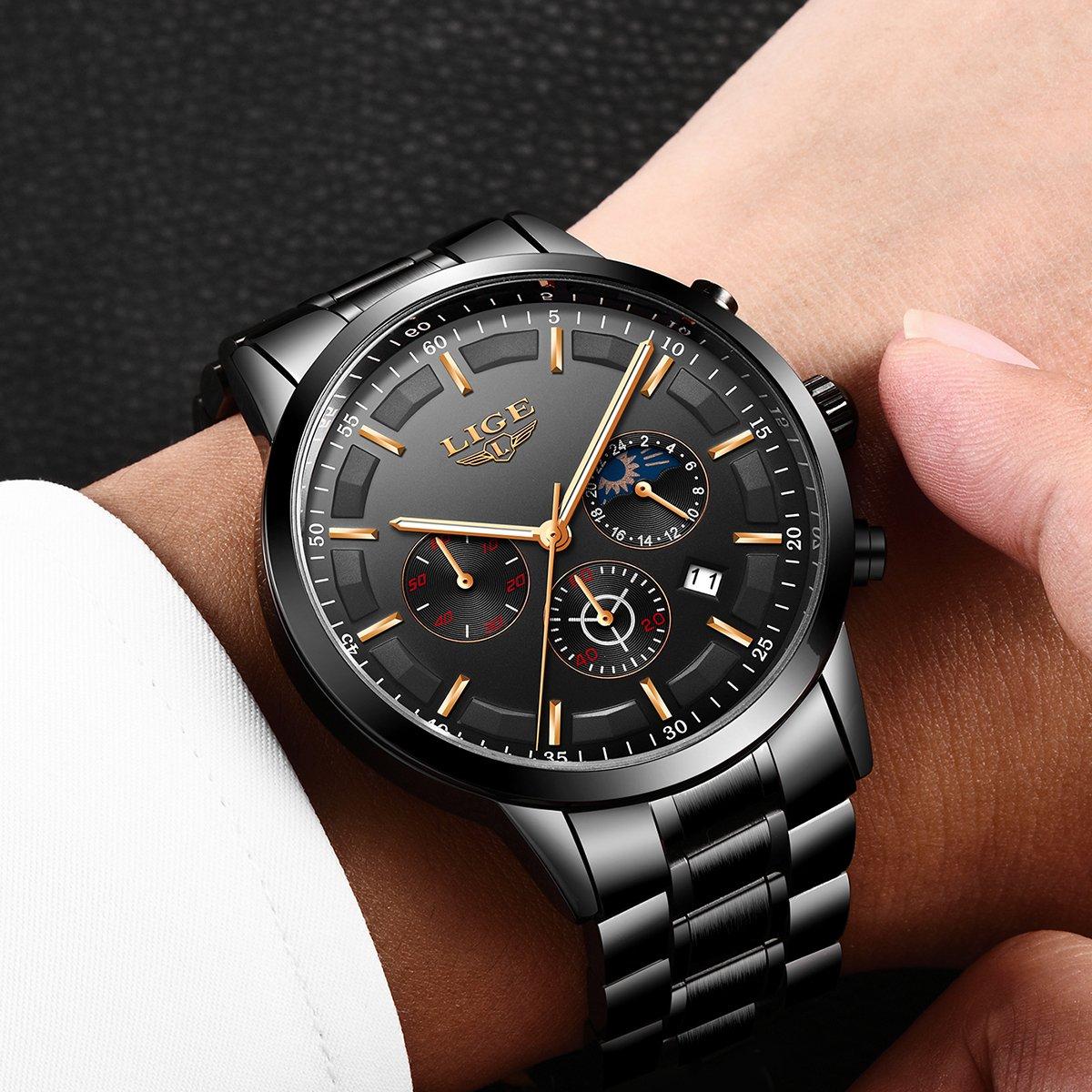 bf5658a79e60 LIGE Relojes Hombre Impermeable Deporte Cuarzo Analógico Reloj ...