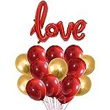 Party Propz Happy Anniversary Combo - 31Pcs Metallic Balloons And 1 Set Love Balloons - For Love Balloons/Anniversary Decorat