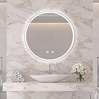 IDÉOVIE® Miroir Salle de Bain LED Rond 60cm(∅), Miroir Salle de Bain avec Éclairage Intégré, Système Anti-Buée…